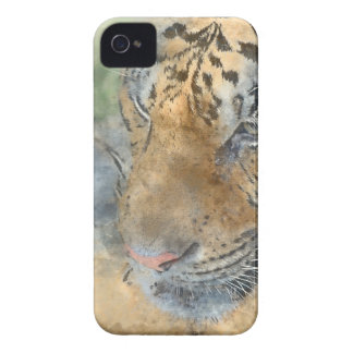 Tiger Close Up in Watercolor iPhone 4 Case-Mate Case