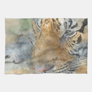 Tiger Close Up in Watercolor Kitchen Towel
