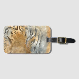 Tiger Close Up in Watercolor Luggage Tag