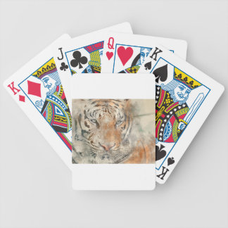 Tiger Close Up in Watercolor Poker Deck