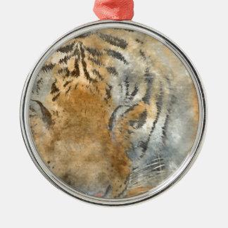 Tiger Close Up in Watercolor Silver-Colored Round Ornament