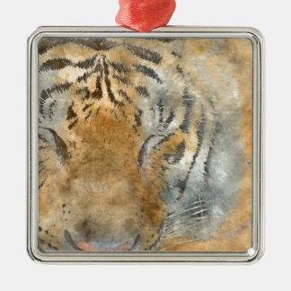 Tiger Close Up in Watercolor Silver-Colored Square Ornament