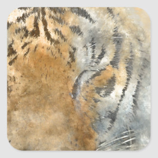 Tiger Close Up in Watercolor Square Sticker