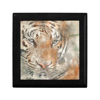 Tiger Close Up in Watercolor Trinket Box
