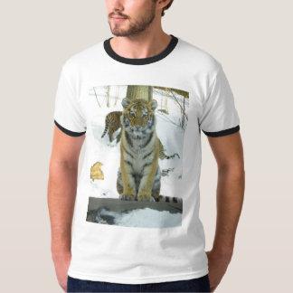 Tiger Cub In Snow Portrait T-Shirt
