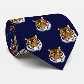 Tiger Dark Navy Blue Background Tie