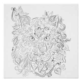 Tiger drawing adult colouring poster perfect poster