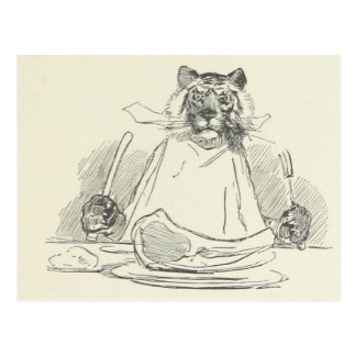 Tiger Eating Meat with Knife and Fork Postcard