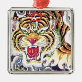 Tiger Eye Silver-Colored Square Ornament