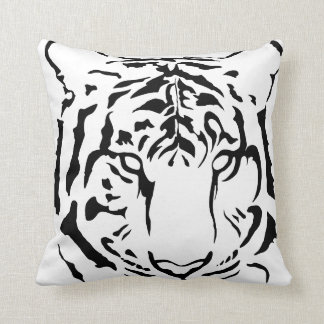 Tiger eyes in black silhouette throw pillow
