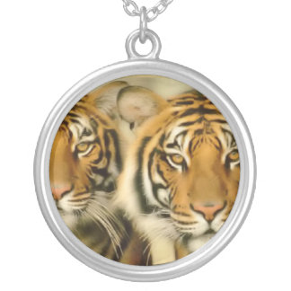 Tiger Eyes Silver Plated Necklace