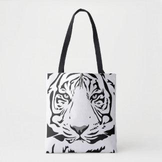 Tiger face background tote bag