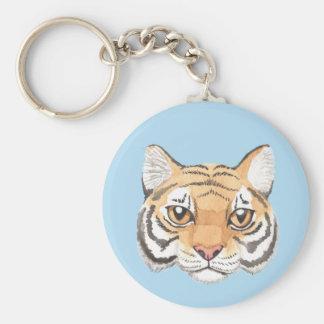 Tiger Face Basic Round Button Keychain