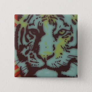 TIGER FACE BOLD IMAGE 2 INCH SQUARE BUTTON