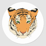 Tiger Face/Head Round Sticker