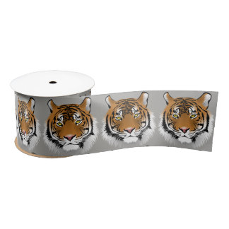 Tiger face ribbon satin ribbon