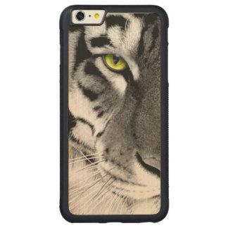 Tiger face - white tiger - eyes tiger - tiger carved maple iPhone 6 plus bumper case