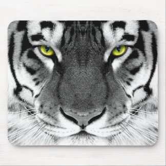 Tiger face - white tiger - eyes tiger - tiger mouse pad