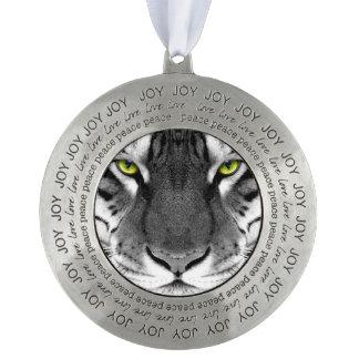 Tiger face - white tiger - eyes tiger - tiger pewter ornament
