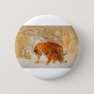 Tiger Family in a Blizzard - PaintingZ 2 Inch Round Button
