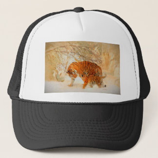 Tiger Family in a Blizzard - PaintingZ Trucker Hat