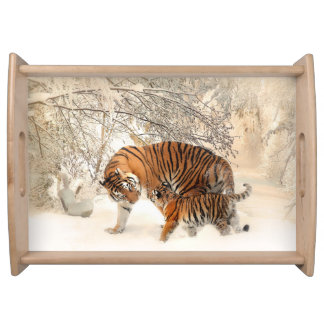 Tiger family in winter serving tray