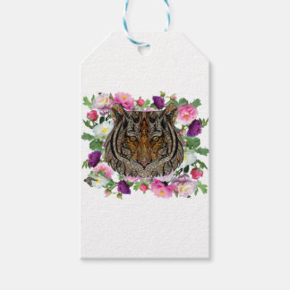 tiger flowers design gift tags