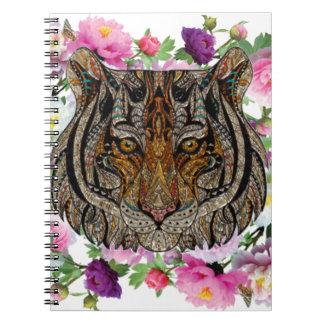 tiger flowers design notebook