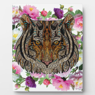 tiger flowers design plaque