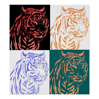 Tiger Four Panel Abstract Poster
