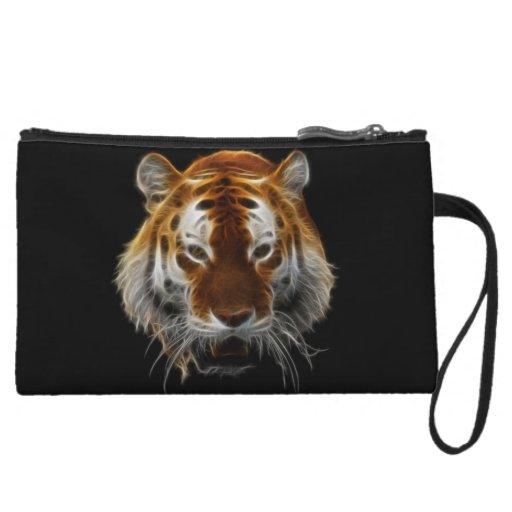 Tiger Fractal Wristlet Purse