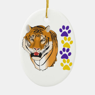 TIGER HEAD AND PAW PRINTS CERAMIC ORNAMENT