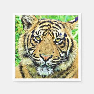 Tiger head digital art disposable napkins
