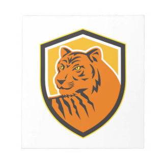 Tiger Head Front Crest Retro Notepad