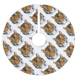Tiger Head Print Design Brushed Polyester Tree Skirt