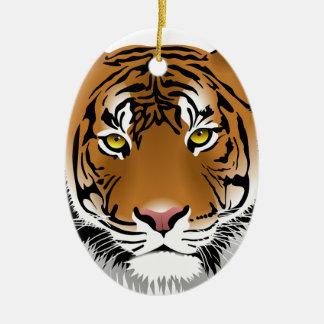 Tiger Head Print Design Ceramic Ornament