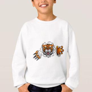 Tiger Holding Basketball Ball Breaking Background Sweatshirt