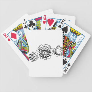 Tiger Holding Cricket Ball Breaking Background Bicycle Playing Cards