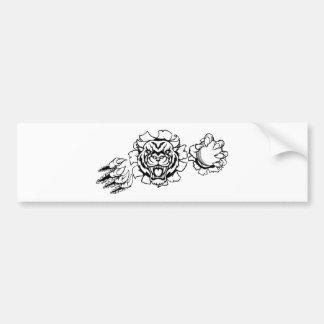Tiger Holding Cricket Ball Breaking Background Bumper Sticker