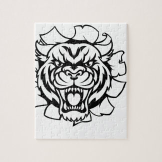 Tiger Holding Cricket Ball Breaking Background Jigsaw Puzzle