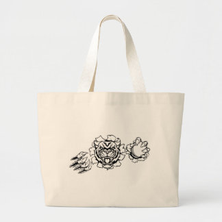 Tiger Holding Cricket Ball Breaking Background Large Tote Bag