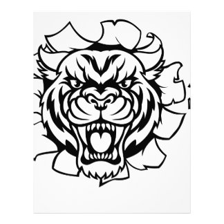 Tiger Holding Cricket Ball Breaking Background Letterhead
