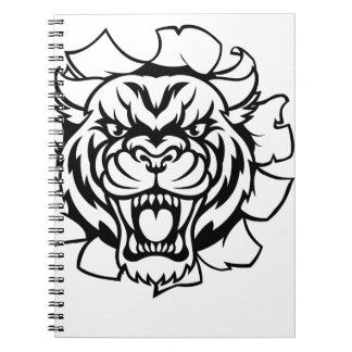 Tiger Holding Cricket Ball Breaking Background Notebook