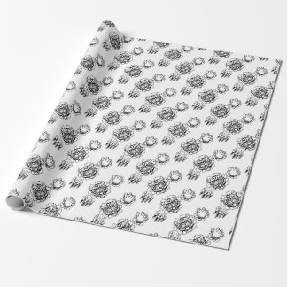 Tiger Holding Cricket Ball Breaking Background Wrapping Paper