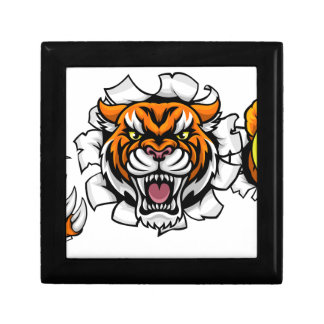 Tiger Holding Tennis Ball Breaking Background Gift Box
