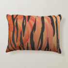 Tiger Hot orange and Black Print Accent Pillow