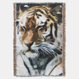 Tiger Illustration Close-up Print Blanket