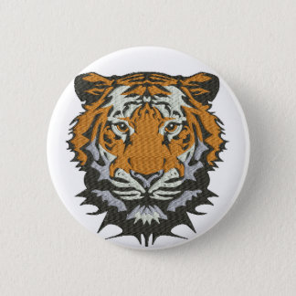 tiger imitation of embroidery 2 inch round button