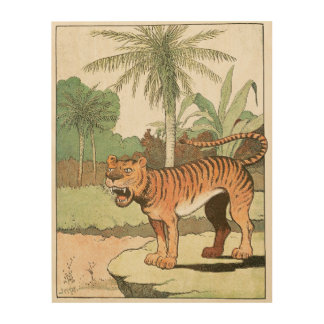Tiger in a Tropical Jungle Wood Print