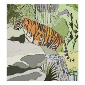 Tiger In a Waterfall Poster